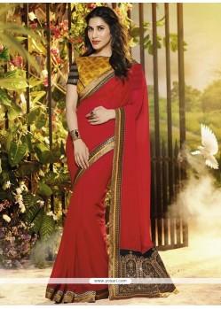 Stunning Red Georgette Wedding Saree