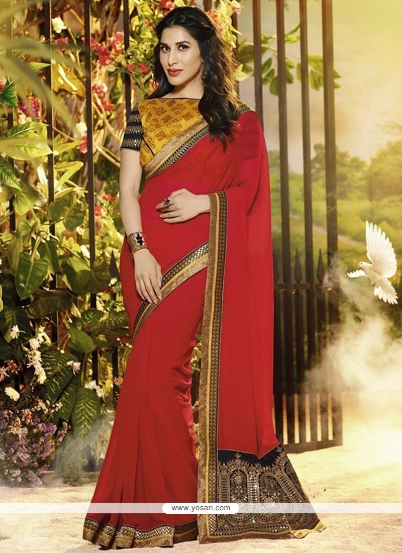Stunning Red Georgette Wedding Saree