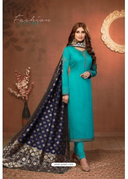 Turquoise Embroidered Pure Cotton Jaam Silk Churidar Salwar Suit