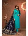 Turquoise Embroidered Pure Cotton Jaam Silk Churidar Salwar Suit