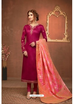 Rose Red Embroidered Pure Cotton Jaam Silk Churidar Salwar Suit