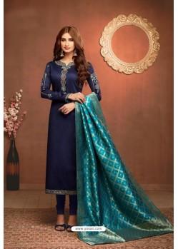 Navy Blue Embroidered Pure Cotton Jaam Silk Churidar Salwar Suit