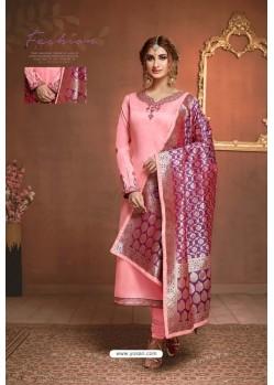 Baby Pink Embroidered Pure Cotton Jaam Silk Churidar Salwar Suit