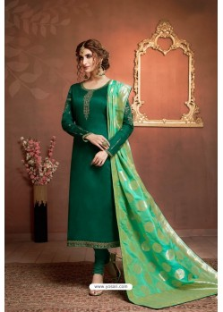 Dark Green Embroidered Pure Cotton Jaam Silk Churidar Salwar Suit