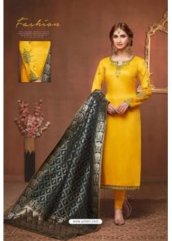 Yellow Embroidered Pure Cotton Jaam Silk Churidar Salwar Suit