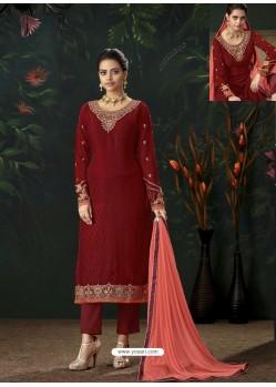 Maroon Designer Party Wear Pure Viscose Brasso Straight Salwar Suit