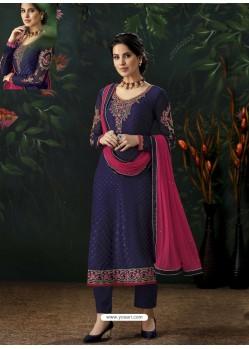 Navy Blue Designer Party Wear Pure Viscose Brasso Straight Salwar Suit