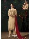 Cream Designer Party Wear Pure Viscose Brasso Straight Salwar Suit