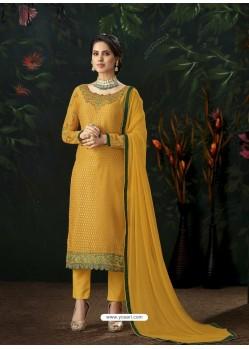 Mustard Designer Party Wear Pure Viscose Brasso Straight Salwar Suit