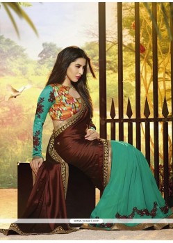 Teal Green And Brown Satin Jacquard Saree