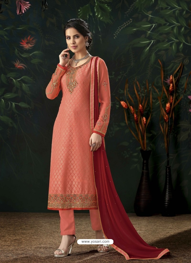 Peach Designer Party Wear Pure Viscose Brasso Straight Salwar Suit