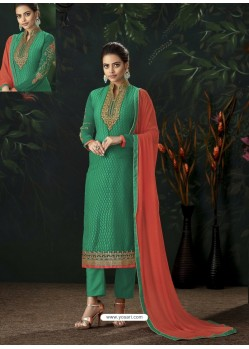 Jade Green Designer Party Wear Pure Viscose Brasso Straight Salwar Suit