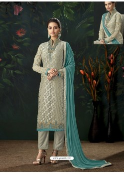 Silver Designer Party Wear Pure Viscose Brasso Straight Salwar Suit