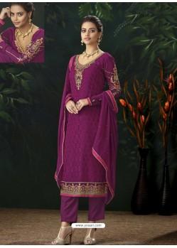 Medium Violet Designer Party Wear Pure Viscose Brasso Straight Salwar Suit