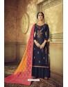 Navy Blue Designer Party Wear Pure Viscose Upada Palazzo Salwar Suit