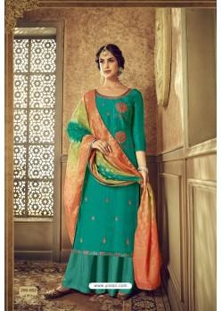 Aqua Mint Designer Party Wear Pure Viscose Upada Palazzo Salwar Suit