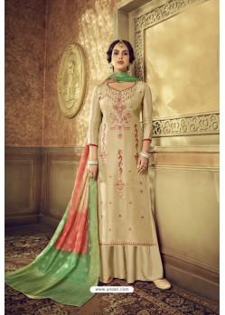 Light Beige Designer Party Wear Pure Viscose Upada Palazzo Salwar Suit