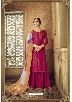 Rose Red Designer Party Wear Pure Viscose Upada Palazzo Salwar Suit