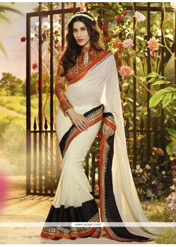 Simplistic Off White Georgette Designer Saree