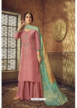 Old Rose Designer Party Wear Pure Viscose Upada Palazzo Salwar Suit