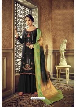 Black Designer Party Wear Pure Viscose Upada Palazzo Salwar Suit
