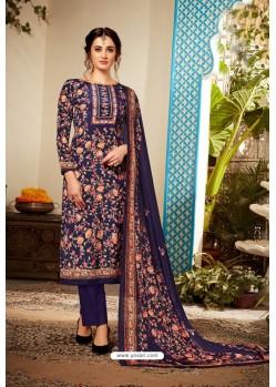 Navy Blue Designer Party Wear Pure Viscose Crepe Straight Salwar Suit
