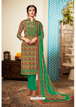 Forest Green Designer Party Wear Pure Viscose Crepe Straight Salwar Suit