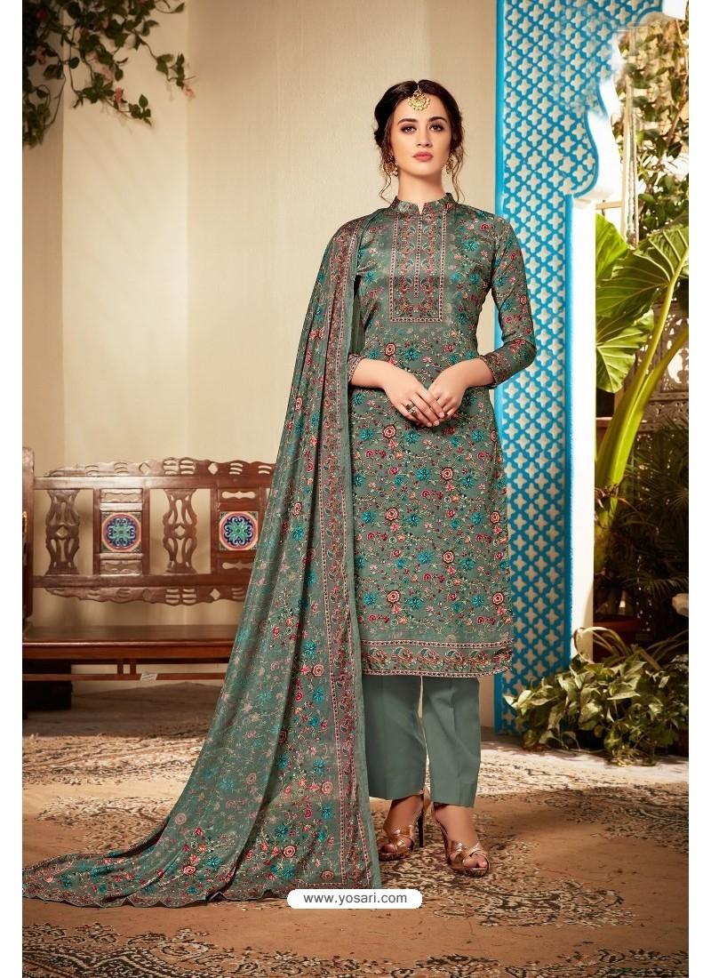 Grayish Green Designer Party Wear Pure Viscose Crepe Straight Salwar Suit