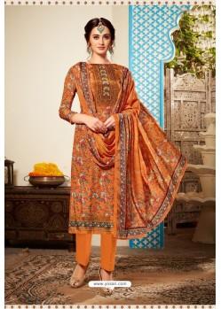 Orange Designer Party Wear Pure Viscose Crepe Straight Salwar Suit
