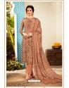 Rust Designer Party Wear Pure Viscose Crepe Straight Salwar Suit