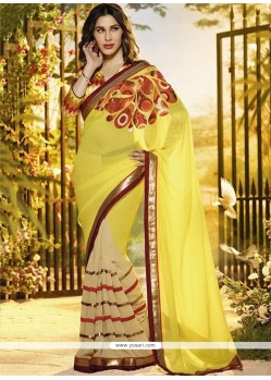 Yellow Chiffon And Georgette Designer Saree
