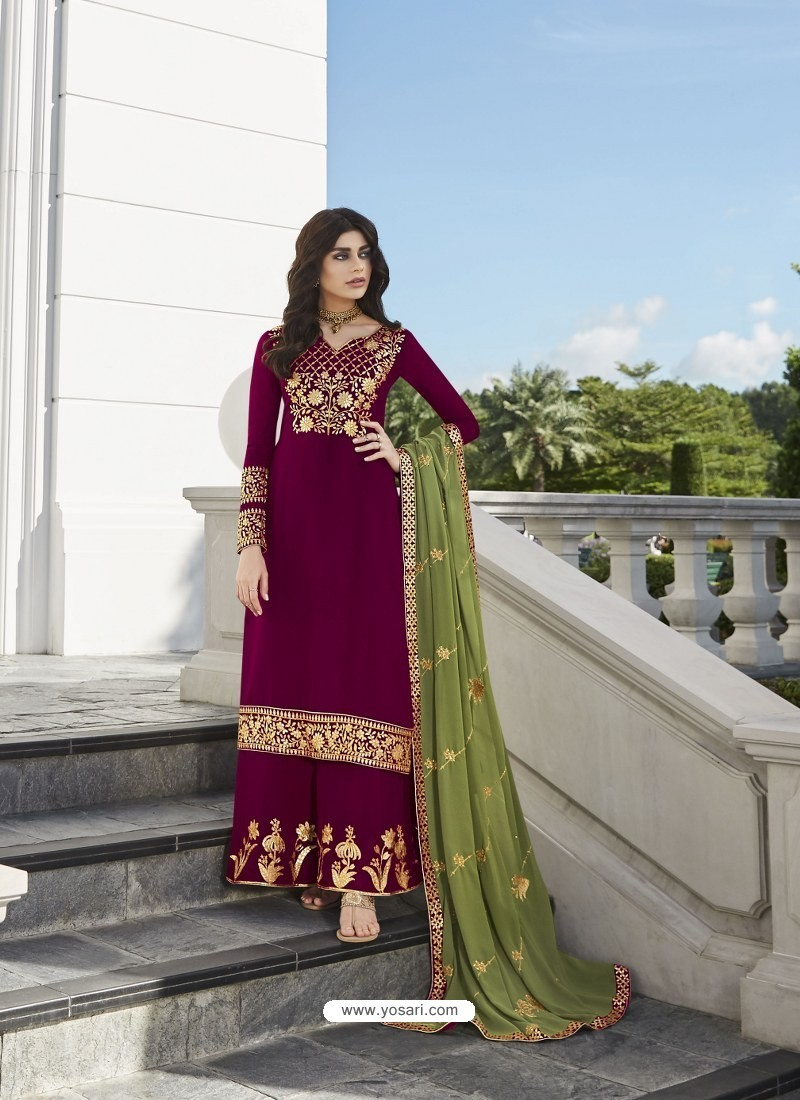 Deep Wine Designer Party Wear Real Georgette Palazzo Salwar Suit
