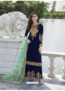 Navy Blue Designer Party Wear Real Georgette Palazzo Salwar Suit
