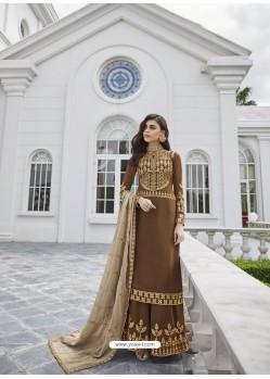Brown Designer Party Wear Real Georgette Palazzo Salwar Suit