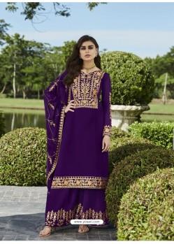Purple Designer Party Wear Real Georgette Palazzo Salwar Suit