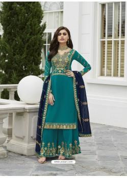 Blue Designer Party Wear Real Georgette Palazzo Salwar Suit