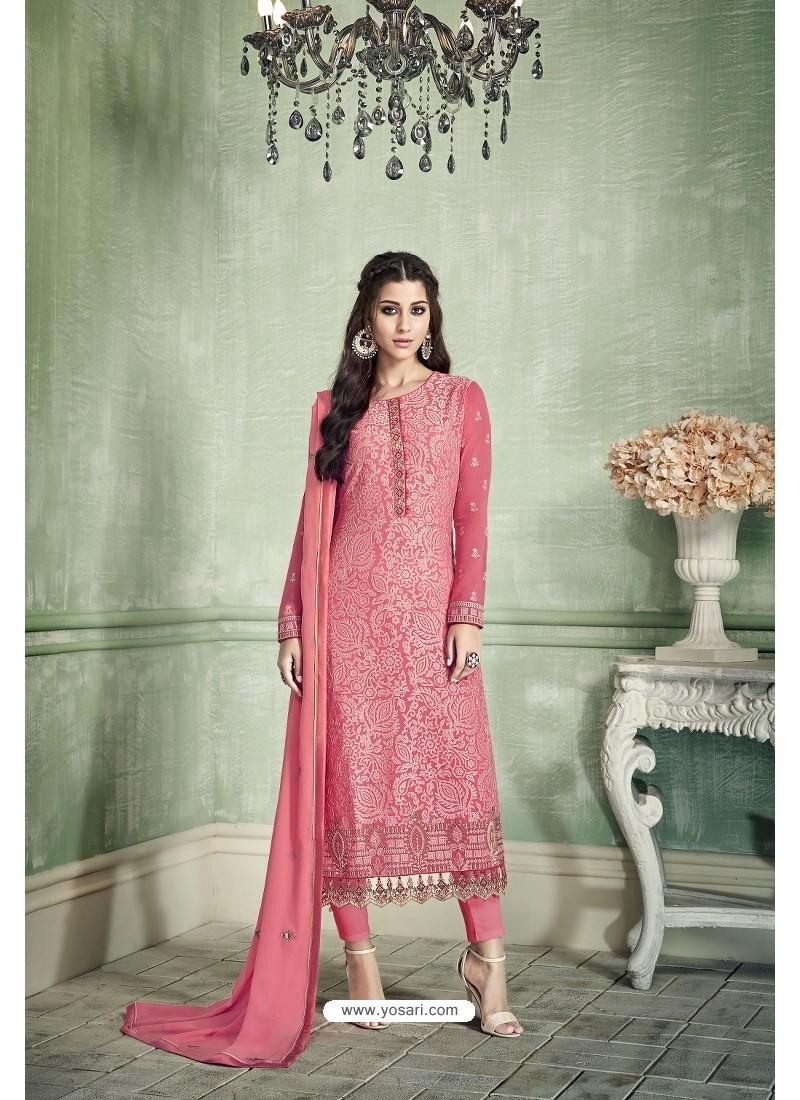 Pink Designer Party Wear Pure Georgette Straight Salwar Suit