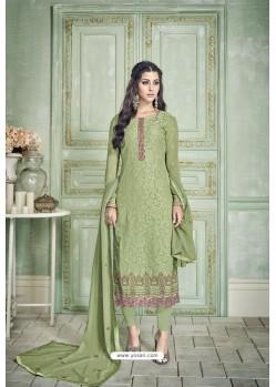 Green Designer Party Wear Pure Georgette Straight Salwar Suit