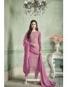 Lavender Designer Party Wear Pure Georgette Straight Salwar Suit