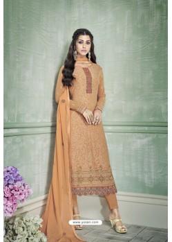 Rust Designer Party Wear Pure Georgette Straight Salwar Suit