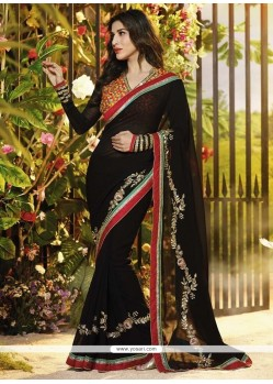 Refreshing Black Georgette Saree