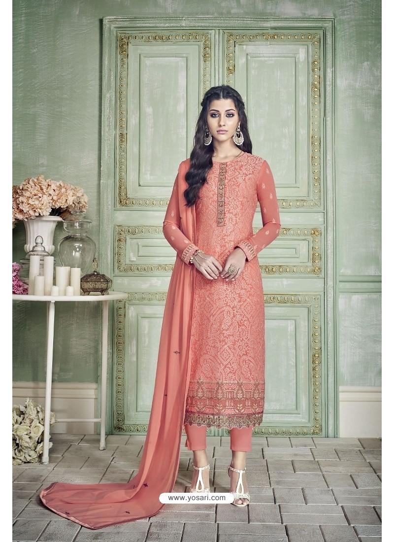 Peach Designer Party Wear Pure Georgette Straight Salwar Suit