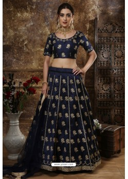 Navy Blue Exclusive Party Wear Designer Readymade Lehenga Choli