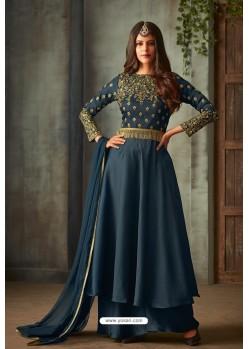 Teal Blue Designer Heavy Embroidered Silk Anarkali Suit