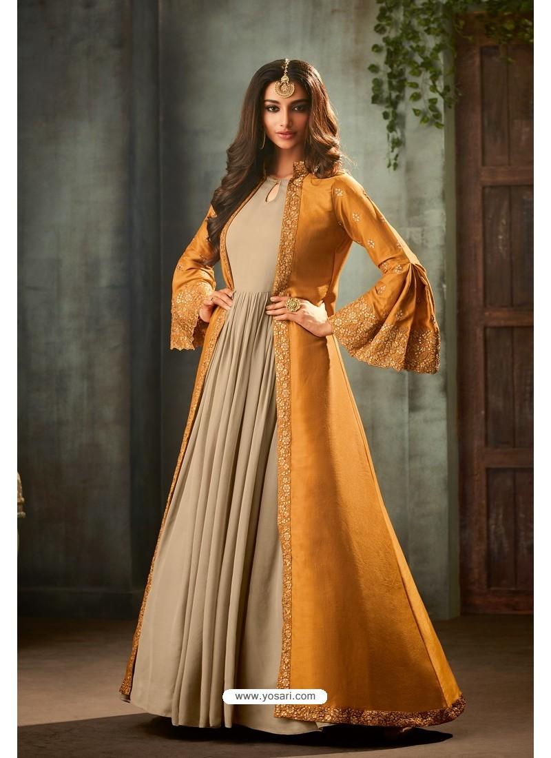 Mustard Designer Heavy Embroidered Silk Anarkali Suit