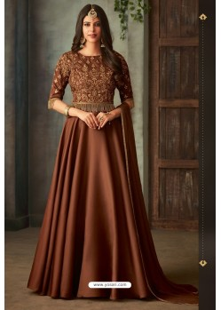 Brown Designer Heavy Embroidered Silk Anarkali Suit