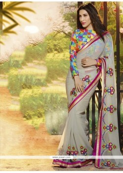 Stylish Grey Chiffon Party Wear Saree