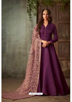 Purple Designer Heavy Embroidered Silk Anarkali Suit