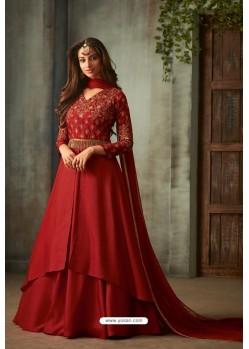Crimson Designer Heavy Embroidered Silk Anarkali Suit