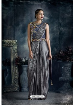 Silver Designer Embroidered Party Wear lycraᅠSari
